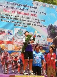 2013 Tour of Thailand women race stage 2 podium photo