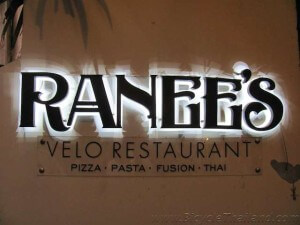 Ranee Velo Restaurant front sign