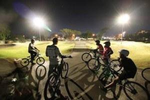 Sa Kaeo Pump Track riders at night