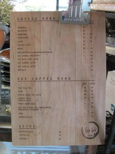 Velo Cafe at Hua Hin coffee menu