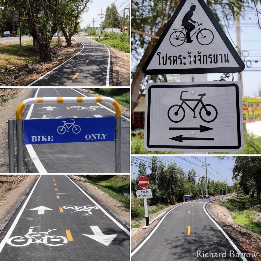 Richard Barrow photos of new bicycle lane south of Hua Hin