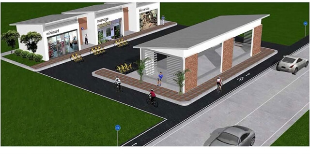 Artist impression of shops along planned bicycle lane