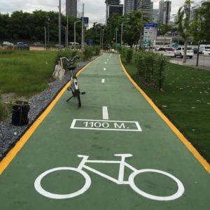 Bicycle Path at Bangkok Airport Rail Link Makkasan Station 4