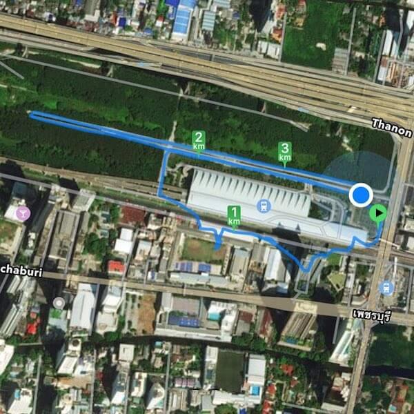 Bicycle Path at Bangkok Airport Rail Link Makkasan Station overview map