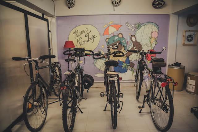 Spinning Bear Bicycle Hostel bike parking area